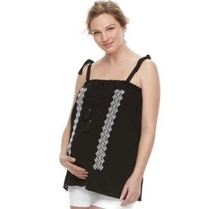 a:glow Maternity Black Embroidered Tank Top